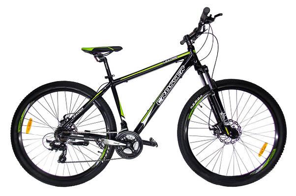 """Горный велосипед CROSSER  LEADER  29"""", 19""""  Черный/Салатовый"""