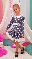 Детское платье в садик Радуга р. 104-122 джинс + белый