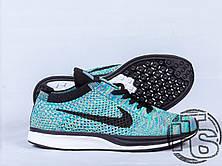 Женские кроссовки Nike Flyknit Racer Green Strike/Black/Blue 526628-304, фото 3