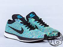 Женские кроссовки Nike Flyknit Racer Green Strike/Black/Blue 526628-304, фото 2
