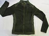 """Флисовая куртка(кофта) воротник стойка с накладками на плечах, воротнике и под рукавами """"milt-11"""" цвет олива, фото 2"""