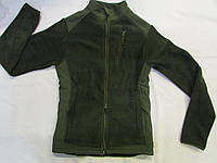 """Флисовая куртка(кофта) воротник стойка с накладками на плечах, воротнике и под рукавами """"milt-11"""" цвет олива"""