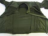 """Флисовая куртка(кофта) воротник стойка с накладками на плечах, воротнике и под рукавами """"milt-11"""" цвет олива, фото 3"""