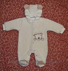 Комбинезон для новорожденных хлопковый велсофт Медвежонок  (р. 50-74 см)