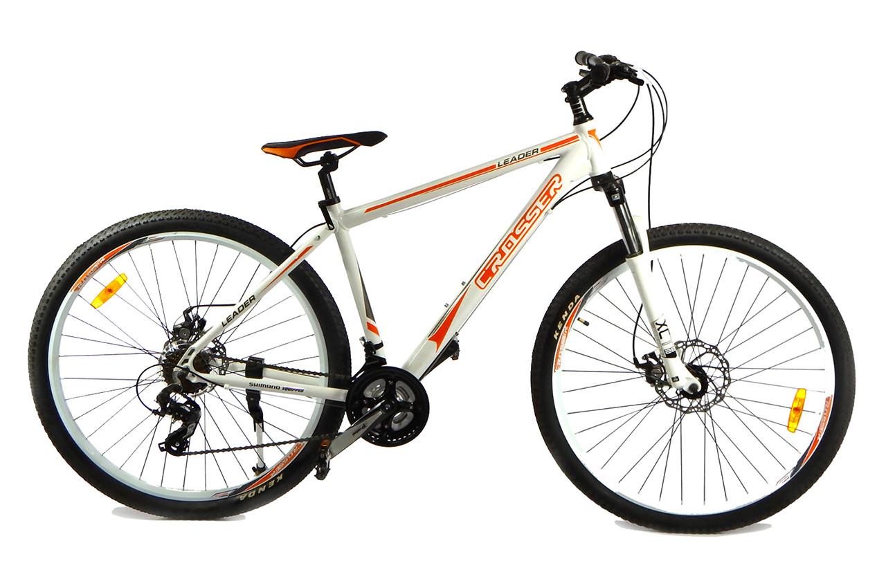 """Горный велосипед CROSSER  LEADER  29"""", 19""""  Белый / Оранжевый"""