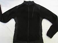 """Флисовая куртка(кофта) воротник стойка с накладками на воротнике, плечах, и под рукавами """"milt-11 цвет черный"""