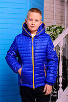 Куртка весенне-осенняя «Монклер-4» для мальчика 6-11 лет (р. 30-40 / 116-146 см) ТМ MANIFIK Электрик