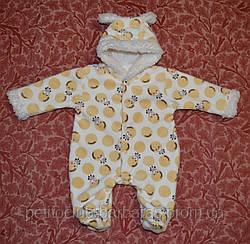 Комбинезон махровый для новорожденных Жираф (р. 56-74 см)
