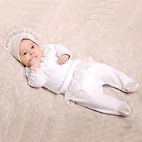 Комплект нарядный велюровый для девочки на выписку и крещение (3 предмета) 56