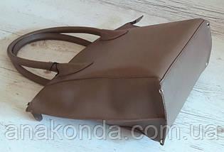 223 Сумка женская натуральная кожа, тауп (кофе с молоком, холодный песочный), фото 3