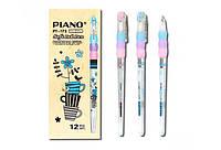 Ручка шариковая масляная PIANO PT-173 0,5 мм синяя корпус белый