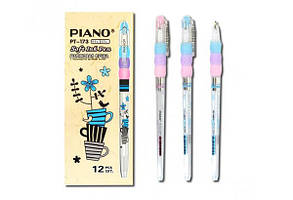 Ручка масляна PIANO PT-173 0,5 мм синя корпус білий
