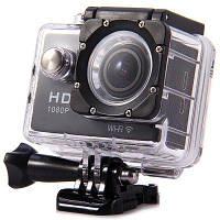 Экшн камера 12 Мп, с аудио, 30 метров погружение, Водонепроницаемый бокс, Sports W9 с Wi-Fi, FullHD