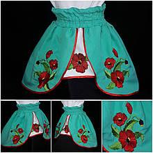 Праздничная юбка с вышивкой, габардин, широкая резинка, удлиненная, 2-12 лет, 210/260 (цена за 1 шт. + 50 гр.)