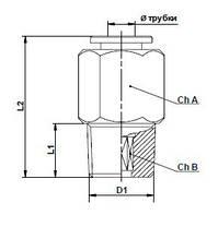 Быстросъёмное соединение OMFB с наружной резьбой 1/8 и нейлоновой трубкой 4 мм