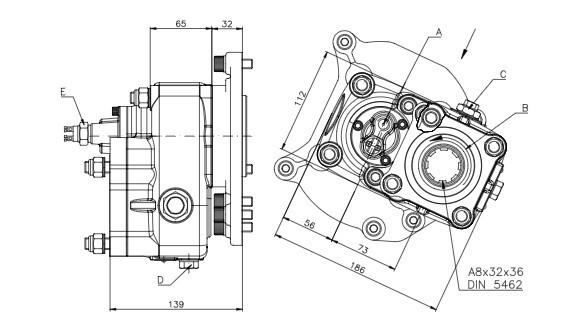 Коробка відбору потужності FHER Mercedes-Benz задня, пневматика, 1:1,72