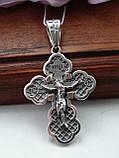 Серебряный крест с золотой вставкой, фото 3