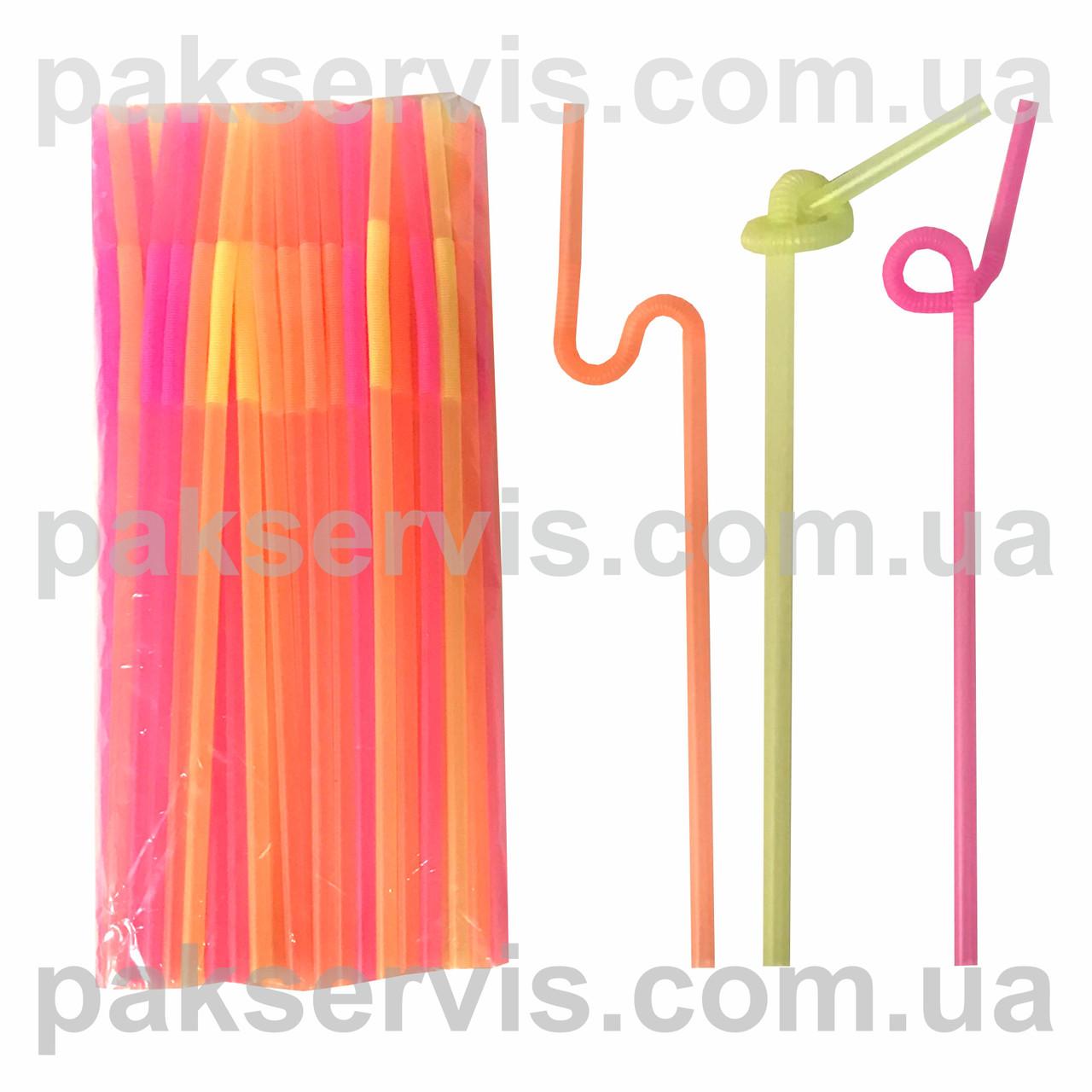Трубочка Артистик (длинная гофра, узелок) 100шт. 33см неоновая