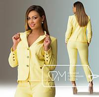 Пиджак больших размеров 48+желтого цвета  арт 159-4/92