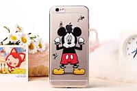 Чехол силиконовый прозрачный с заглушками Knives для iPhone 6/6s Mickey Mouse