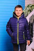 Демисезонная куртка «Монклер-2» для мальчика 6,9-11 лет (р. 30,36-40 / 116,134-146 см) ТМ MANIFIK Джинс