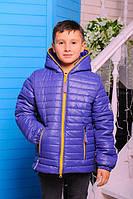 Весенне-осенняя куртка «Монклер-3» для мальчика 6-10 лет (р. 30-38/116-140 см) ТМ MANIFIK Синий
