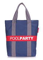 Женская разноцветная сумка-шоппер на молнии из натуральной ткани, модель POOL 82. Цвет: синий-серый-красный.