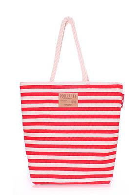 Большая летняя пляжная женская сумка в морском стиле (коттон), модель  Laspalmas red, fedd156a634
