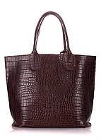 Женская деловая большая сумка-шопер из натуральной кожи, тиснение крокодил, модель Amphibia, цвет коричневый.