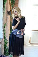 Вискозное женское платье юбка из шифона черного цвета  Арт-19251
