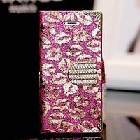 Чехол-книга для iPhone 5 5S Kisses с кристаллами, фото 1