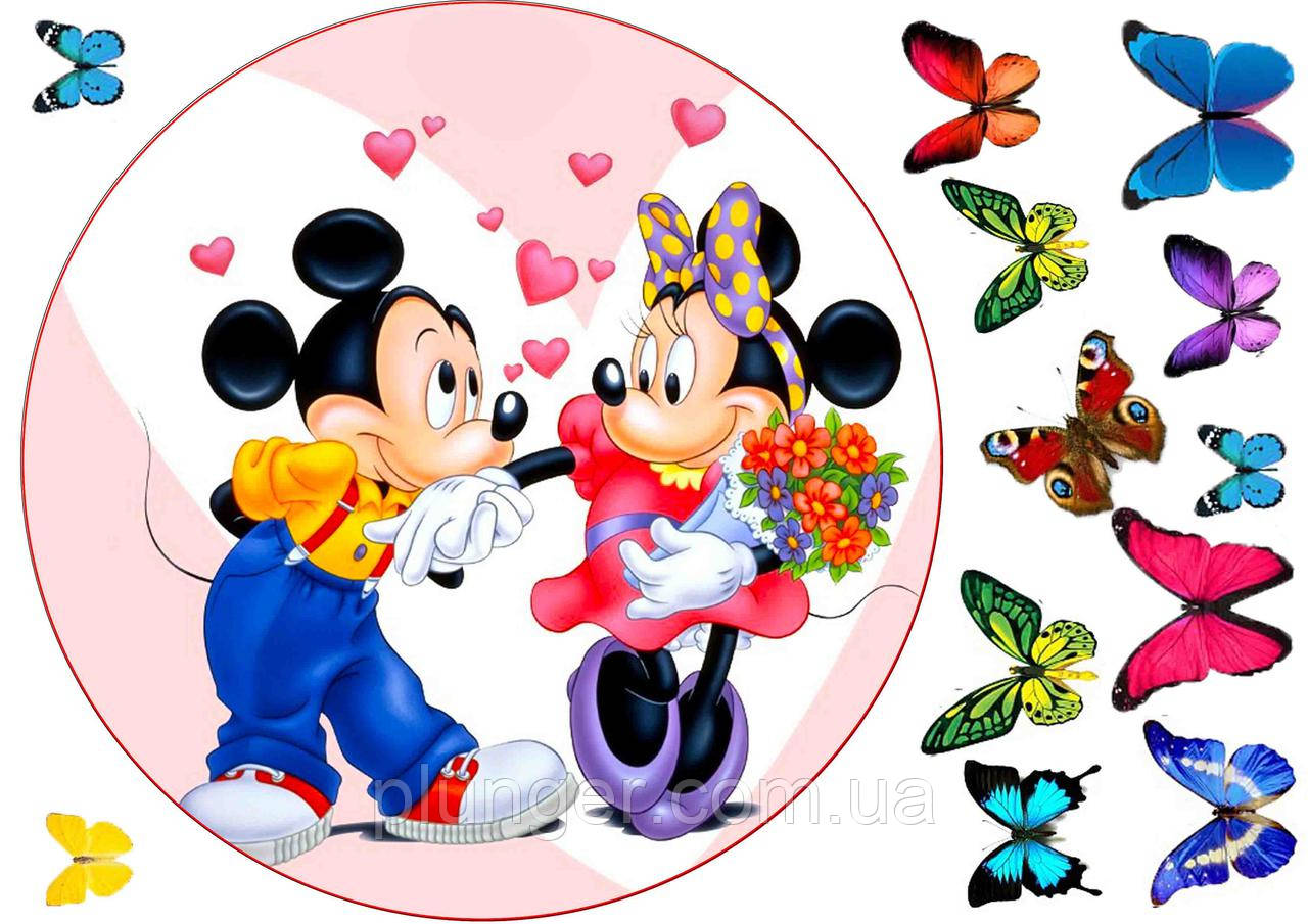 """Вафельная картинка для торта """"Микки и Минни Маус"""", круглая (лист А4, толщина 0,3 мм)"""