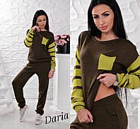 Костюм женский стильный свитер с карманом и брюки вязка разные цвета Dch754, фото 1
