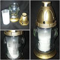 Лампадка стеклянная круглая со свечой (ПОЛЬША) в-22 см, 45\35 (цена за 1 шт +10 грн)