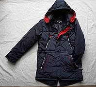 Курткадемисезоннаяподростковая для мальчика 10-14 лет, темно синяя с красным