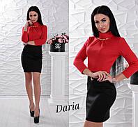 Платье модное короткое с воротником под горло и украшением французский трикотаж 2 цвета SMch2133