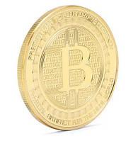 Монета Биткоин сувенир с позолотой