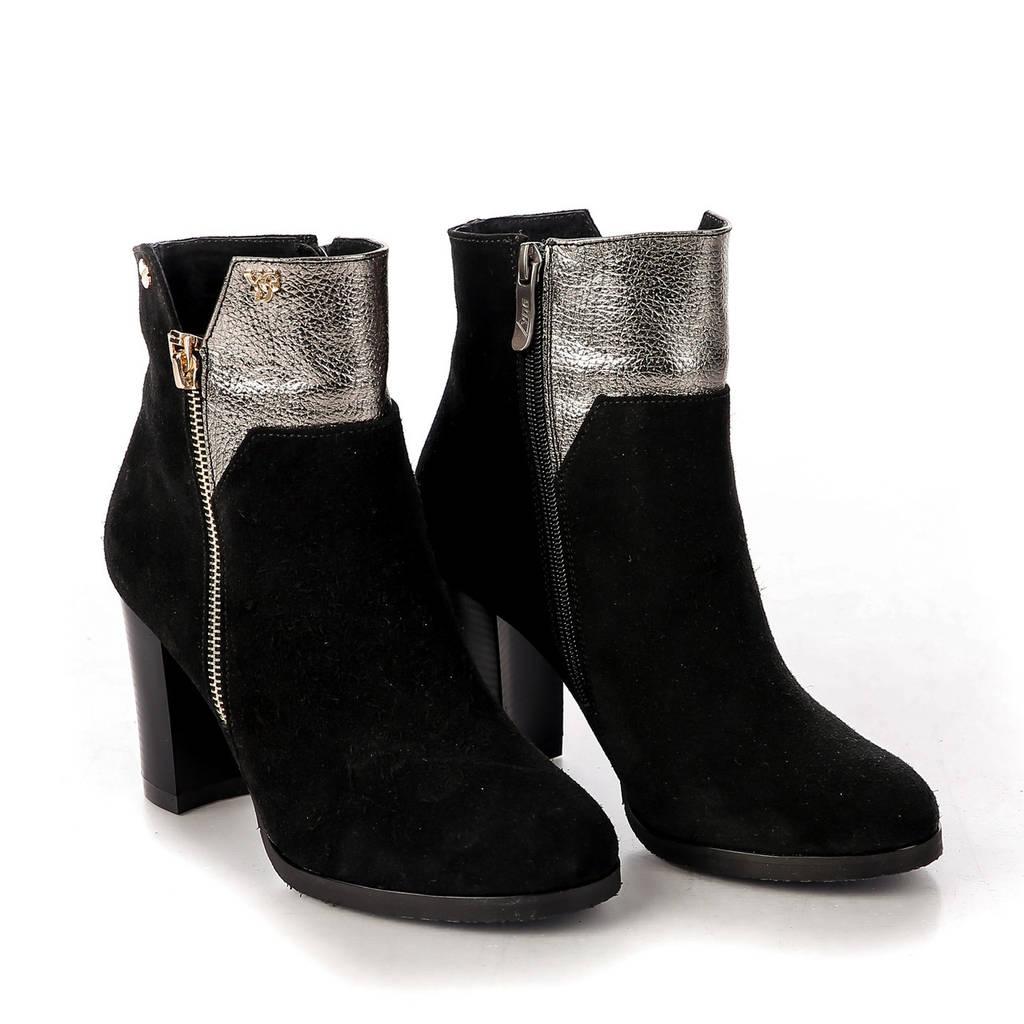 Ботинки женские демисезонные замшевые чёрные с серебристым на высоком каблуке