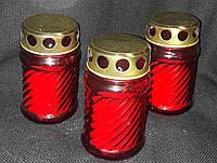 Лампадка стеклянная со свечой (ПОЛЬША) в-11 см, 28\18 (цена за 1 шт +10 грн)