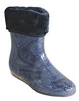 Сапоги резиновые женские силиконовые с мехом, фото 1