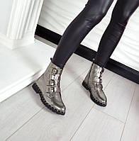 Демисезонные ботинки OstiN материал натуральная кожа, внутри байка, цвет никель