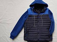 Куртка демисезонная подростковая с съемными рукавами для мальчика 11-15 лет, темно синяя с  синими рукавами