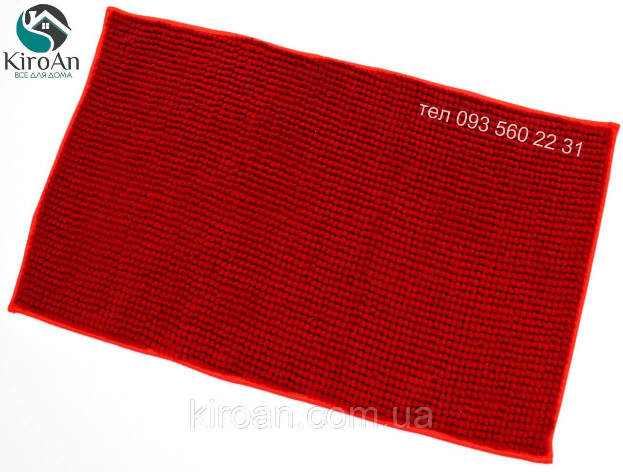Коврик с коротким ворсом из микрофибры Лапша (макароны) 49х79см Красный