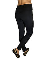 Брючные лосины № 149 с кожаным лампасом черные, фото 2