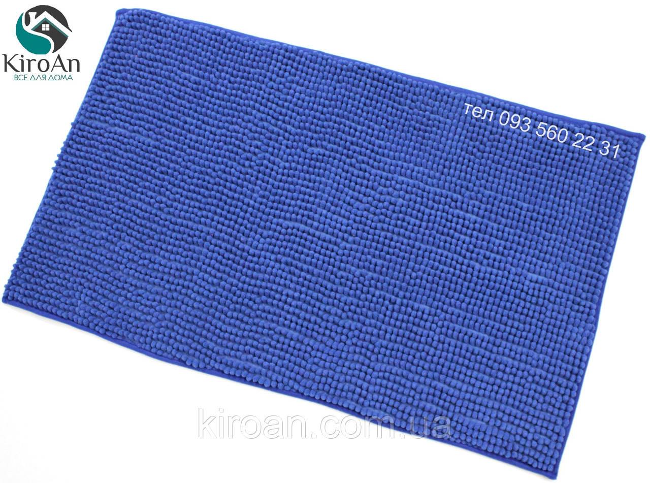 Коврик с коротким ворсом из микрофибры Лапша (макароны) 49х79см Синий