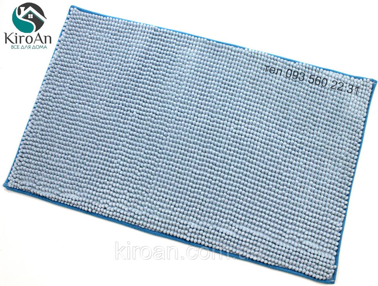 Коврик с коротким ворсом из микрофибры Лапша (макароны) 49х79см Голубой
