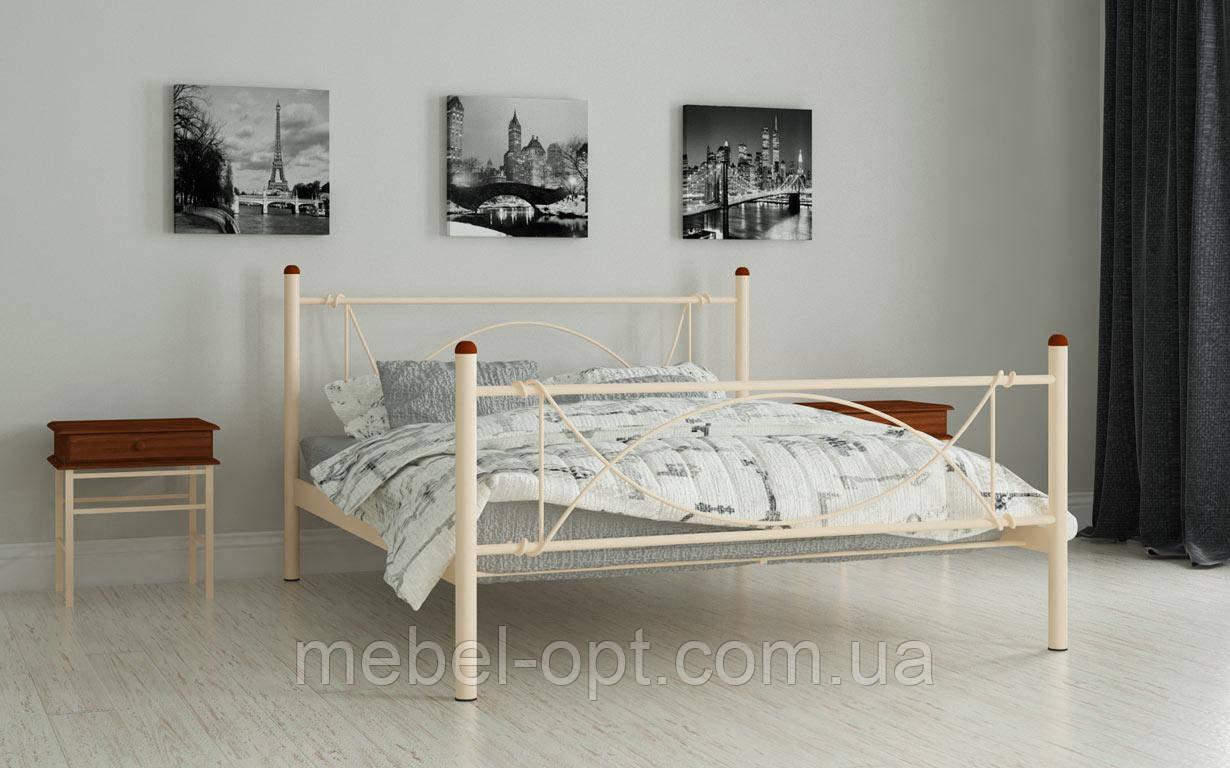 Кровать Роуз 140х190 см Полутороспальная кровать металлическая Мадера, Доставка 250грн по Украине