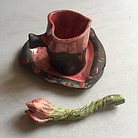 Чашка с блюдцем , в форме сердечка с вареньем))). Авторская работа.