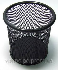 Стакан для ручек металлический круглый, черный