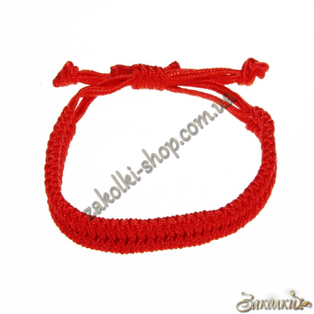 Браслет червона нитка плетений дворядний